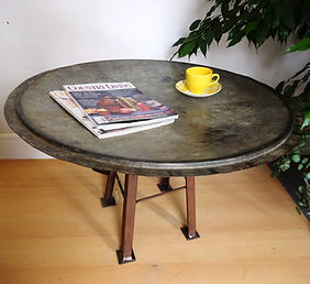 Industrial churn top coffee table