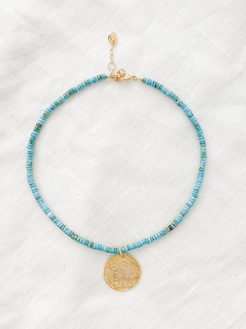 AGUA SANTA | Turquoise & Gold Coin Necklace