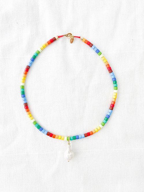 AGUA SANTA   Rainbow Beads & Large Single Pearl Necklace
