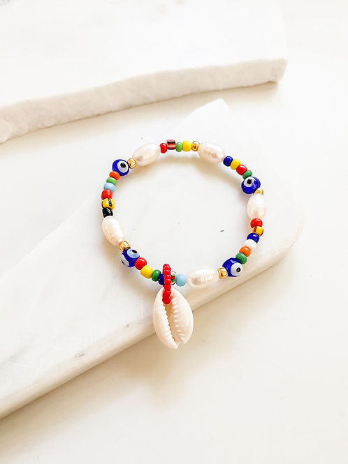 AGUA SANTA  | Pearl and Turkish Eye Beaded Bracelet