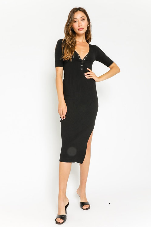 The London Ribbed Bodycon Dress