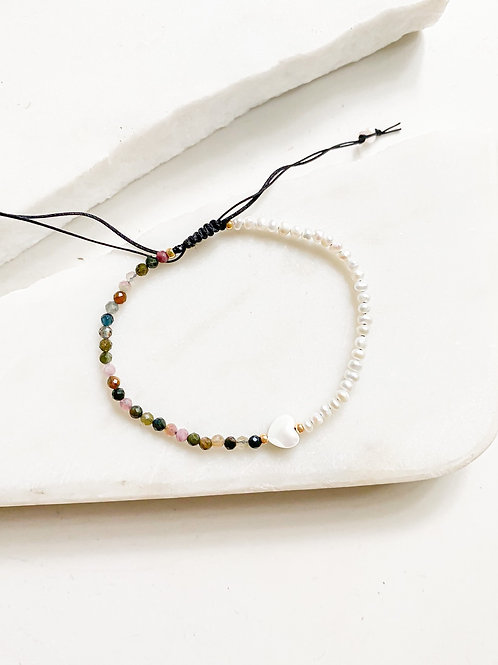 Agua Santa | Tourmaline + Pearl Beaded Bracelets