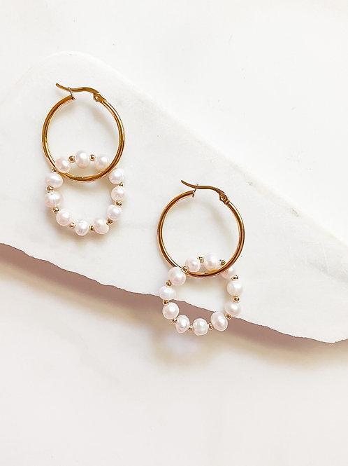 AGUA SANTA     Pearl Double Hoop Earrings