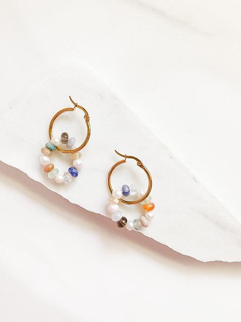 AGUA SANTA |  Bead + Pearl Hoop Earrings