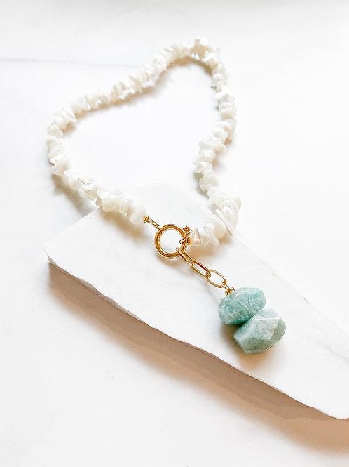 AGUA SANTA   Shell + Turquoise Stone Necklace