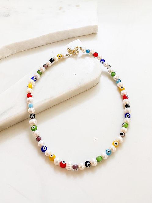 AGUA SANTA  | Pearl and Turkish Eye Beaded Necklace