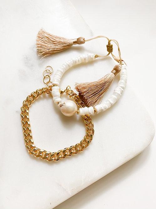 AGUA SANTA |  White Pearl + Bead Bracelet