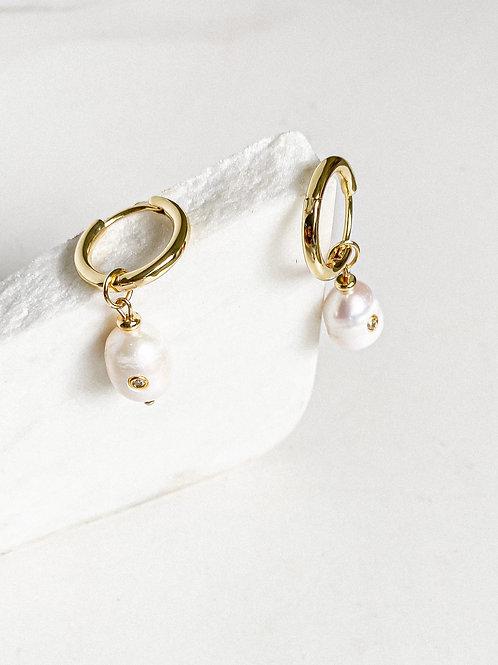 Agua Santa | Hoop + Pearl Earring