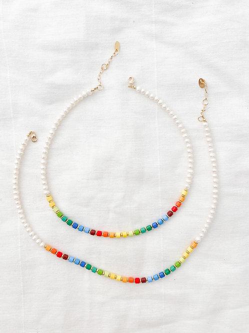 AGUA SANTA   Rainbow Beads & Pearl Necklace