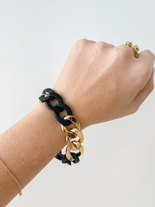 Agua Santa | Black Acrylic Link Bracelet