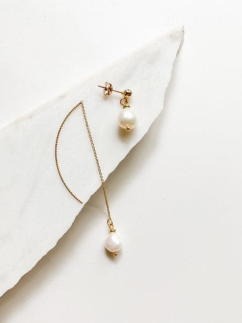 AGUA SANTA | Asymmetrical Pearl Drop Earrings