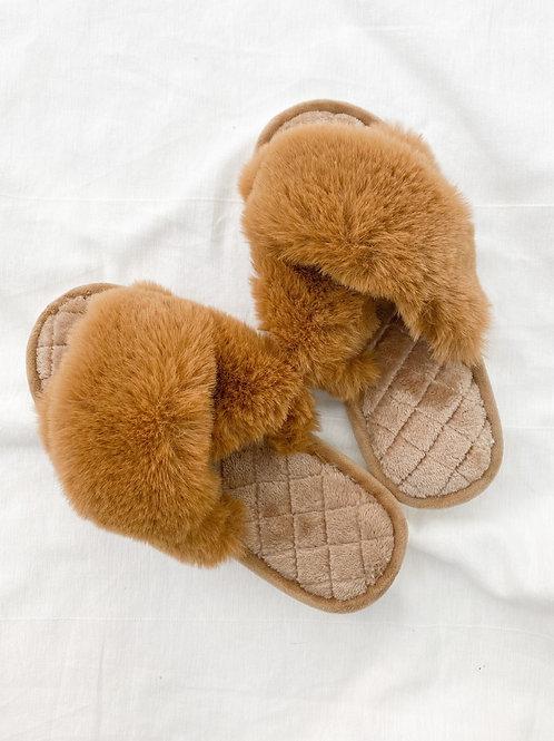 OAK Furry Slides | Camel