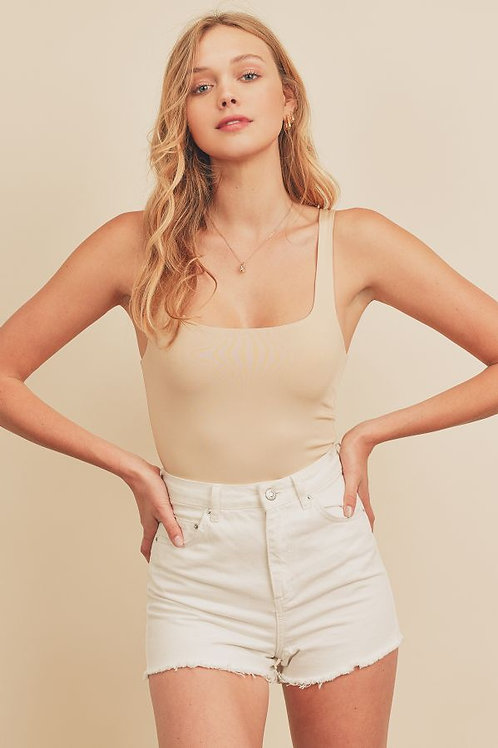The Becky Square Neck Bodysuit   Nude