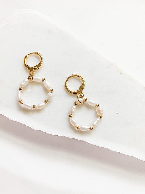 AGUA SANTA     Mini Pearl Hoop Earrings