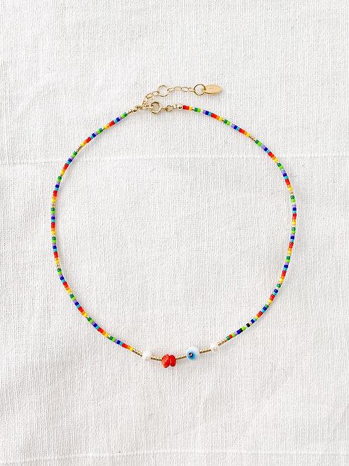 AGUA SANTA   Evil Eye & Multi Colored Beaded Necklace