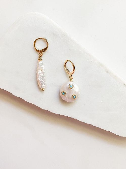 AGUA SANTA |  Asymmetrical Pearl + Mini Star Earrings