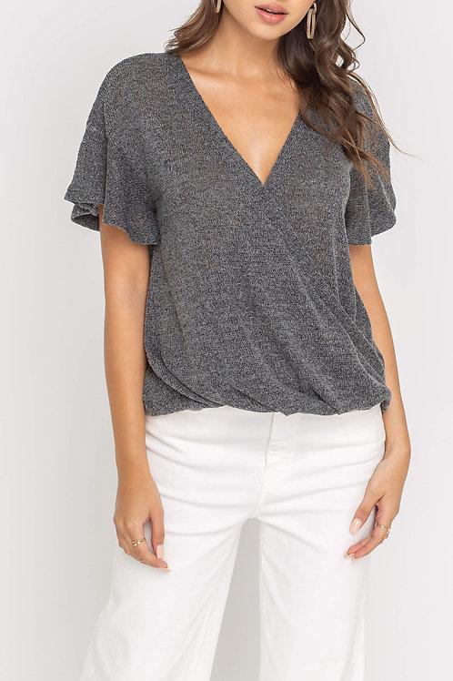 The Odette Drape Front Knit | Grey