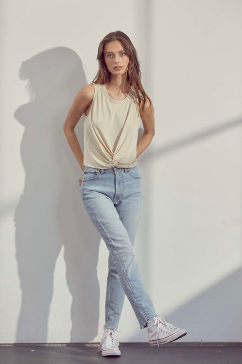 The Camile Front Twist Crop | Nude