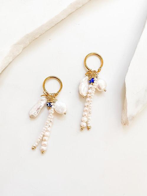 AGUA SANTA  | Pearl and Turkish Eye Charm Earrings