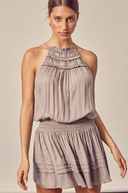 The Bethany Smocked Mini Dress | Taupe