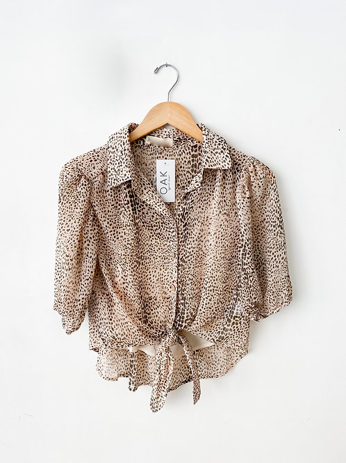 The Spotted Tie Front Blouse