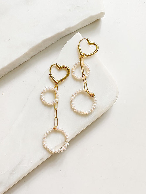Agua Santa | Pearl + Heart Drop Earrings