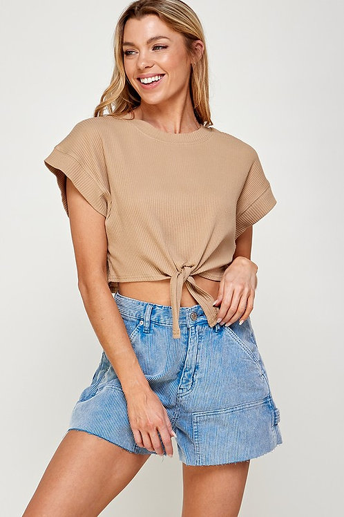 The Ariel Front Tie Top   Taupe