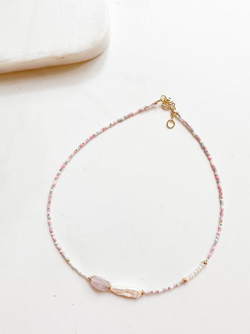 AGUA SANTA | Blushing Beads +  Pearl  Necklace