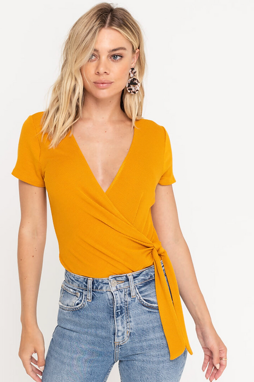 The Cecily Wrap Bodysuit   Mustard