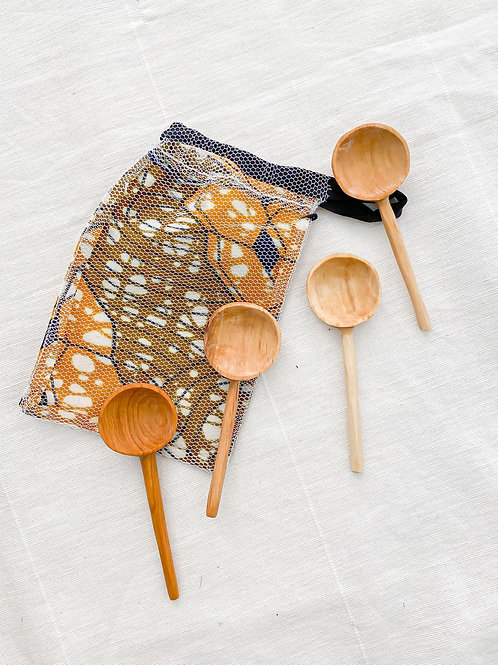 Acacia Olive Wood Coffee Spoon Set
