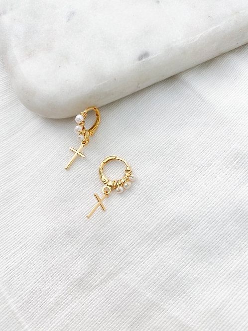 AGUA SANTA | Micro Pearl + Cross  Earrings