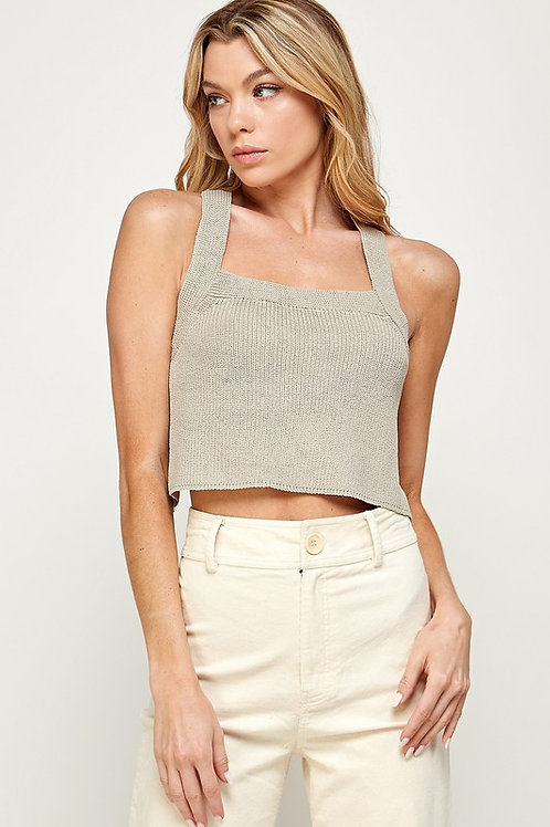 The Bobbie Open Back Knit Tank | Taupe