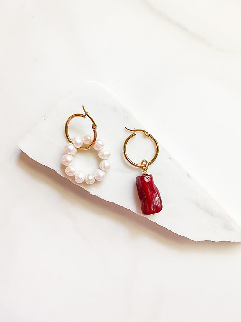 AGUA SANTA |   Pearl + Coral  Earrings