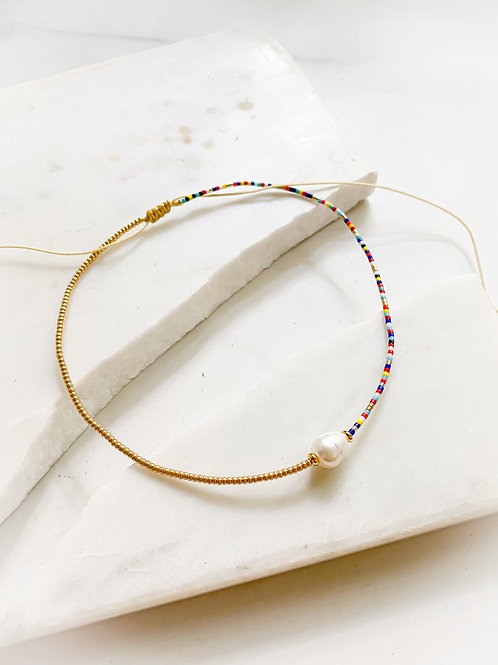 Agua Santa | Multi Colored Bead + Gold Pearl Choker