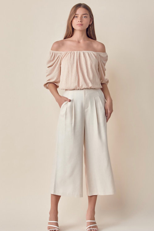 The Lori Off-The-Shoulder Top   Taupe
