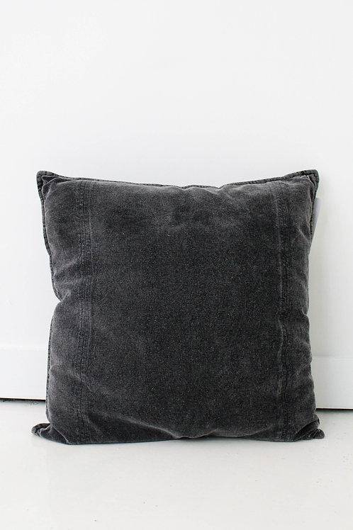 Charcoal Stonewash Velvet Pillow