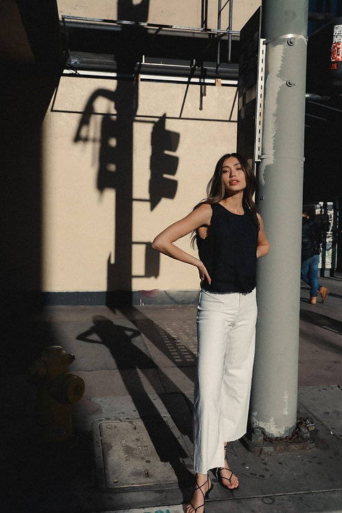 The Isadora Frayed Linen Blouse
