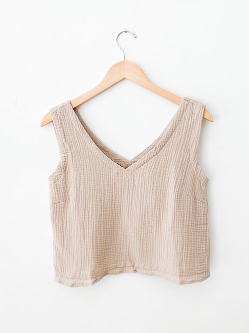 The Paula Woven Top   Taupe