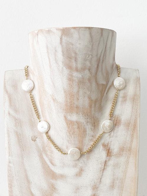 AGUA SANTA | Large Pearl + Chain Necklace