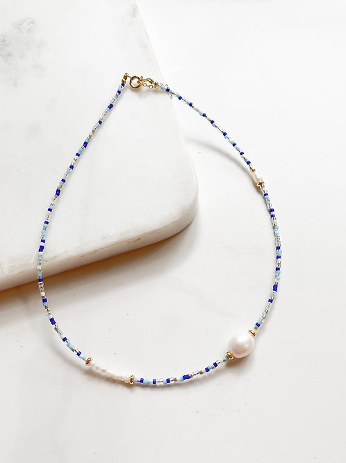AGUA SANTA | Ocean Blue Beads +  Pearl  Necklace