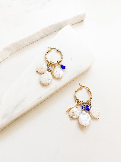 AGUA SANTA    Pearl and Turkish Eye Charm Earrings