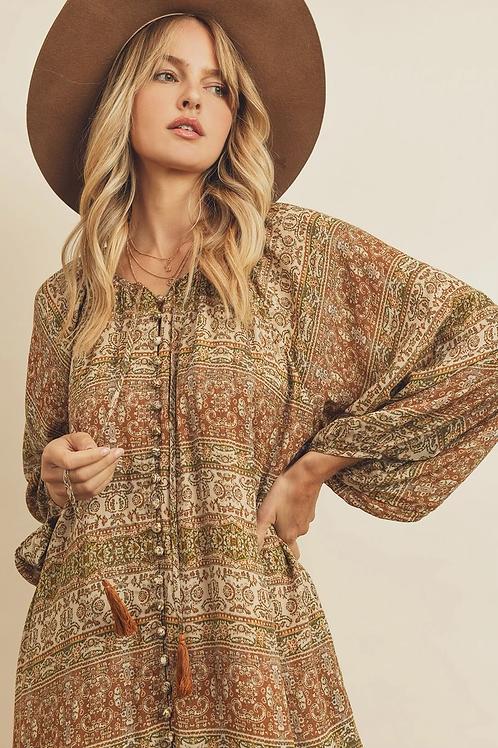 The Vintage Paisley Midi Dress