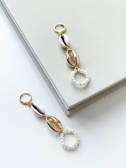 AGUA SANTA   Cowrie Shell Drop Earrings