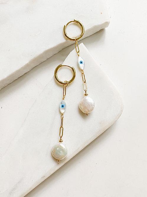 Agua Santa   Pearl + Turkish Eye Drop Earrings
