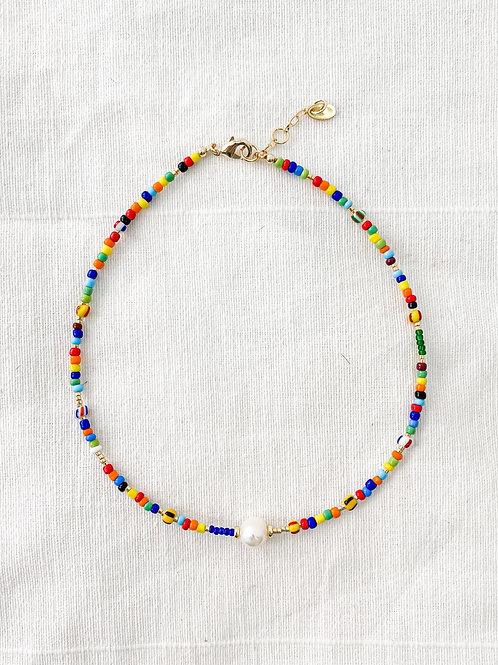 AGUA SANTA | Pearl & Multi Colored Beaded Necklace