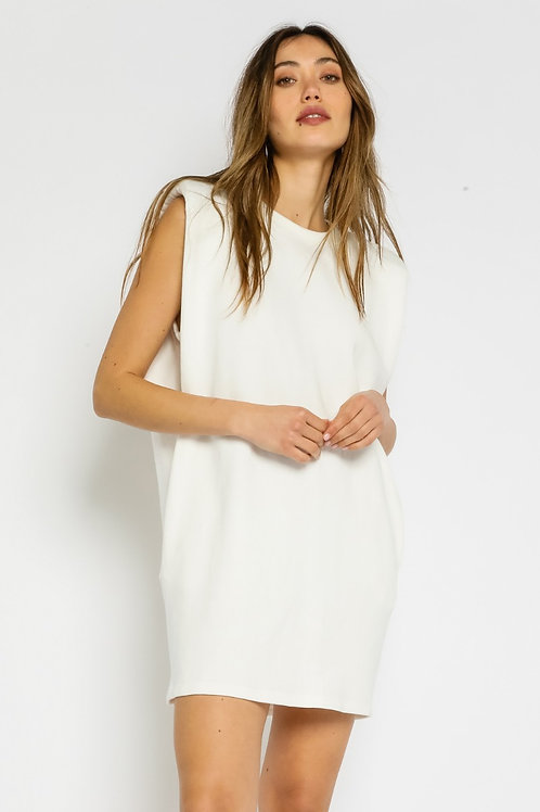 The Bailey Muscle T  Dress   White