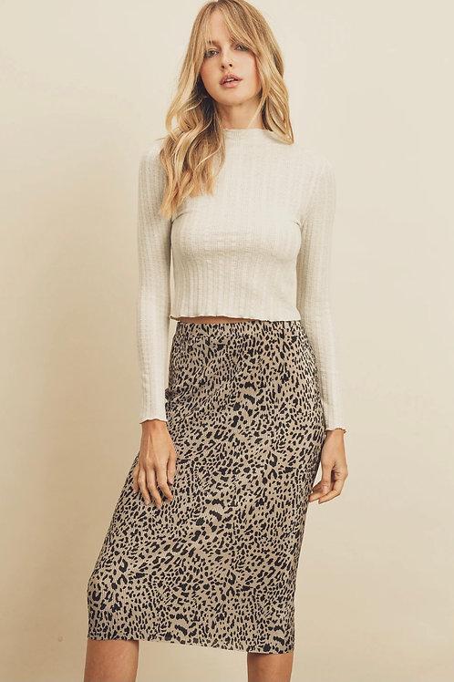 So Sassy Pleated Cheetah Skirt