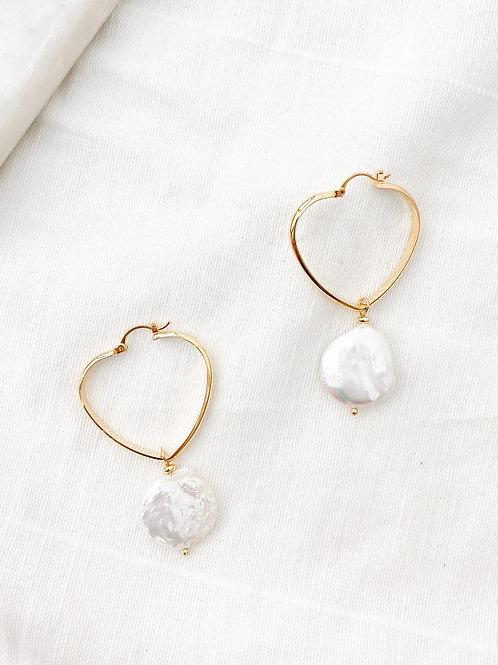 AGUA SANTA | Heart Hoop + Pearl Earrings