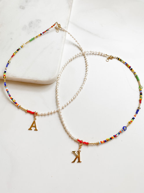 AGUA SANTA | Multi Bead + Pearl Initial Necklace