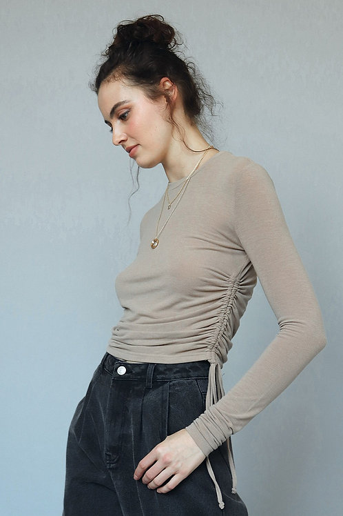 The Raquel Drawstring Top | Taupe